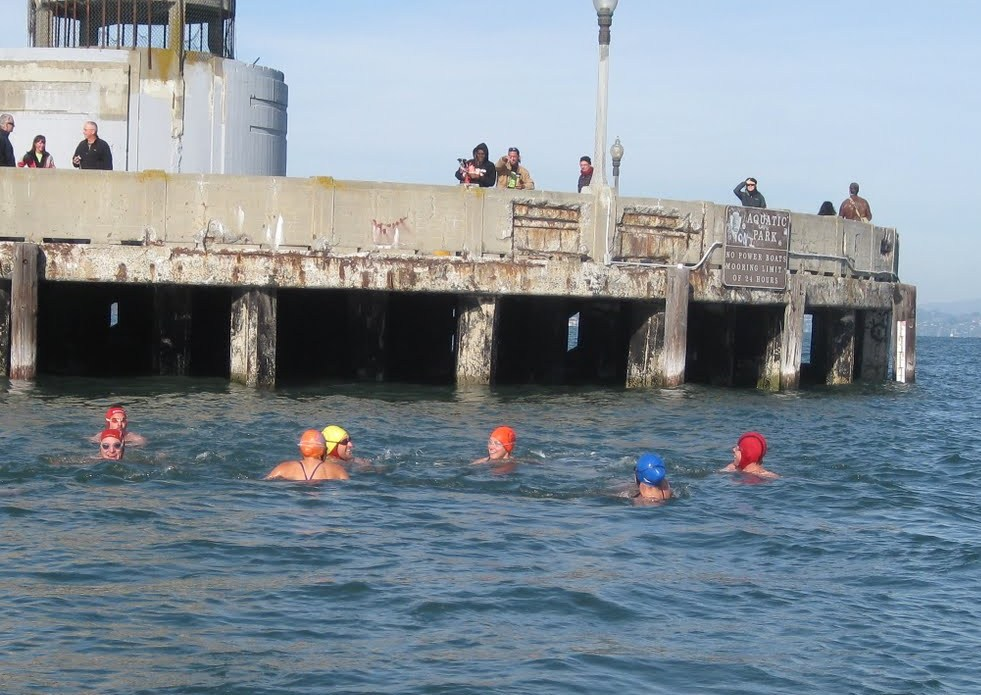 Swimming with friends to the cove entrance